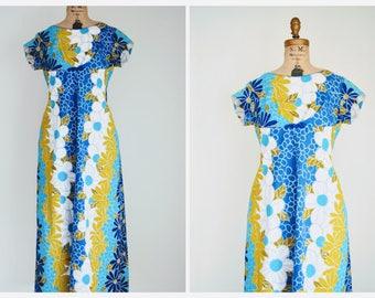 Vintage 70s Hawaiian Maxi Dress | Vintage Bright Floral Dress