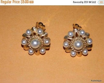 Close Out Sale Vintage Clip-On Earrings, Pearls and Gold