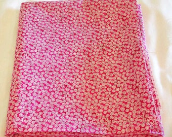 Fabric Destash – White Spirals on Magenta – Almost 1 1/2 Yards, 100% Cotton
