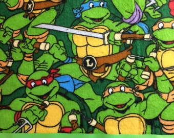 Flannel Green Pillowcase with Teenage Mutant Turtles Print