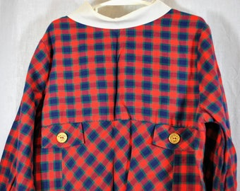 Vintage Love Brand Girl's Dress - Red Blue and Green Checked Plaid High Waist - Contrast Collar - Size 6X 7 or 8