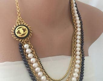 Handmade Freshwater Pearl Necklace with Authentic Brooch