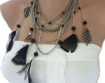 Feather Necklace, Boho Bride Necklace, Bohemian Weddings, Handmade Boho Necklace