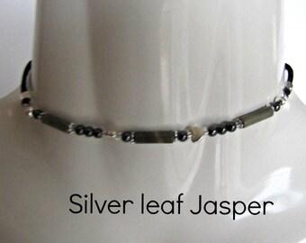 Boho Choker, Silver Leaf Jasper Choker, Beaded Choker, Black Cord, Gemstone , MInimalist, Bohemian, 12 to 20 inch, choker, Necklace, #1263