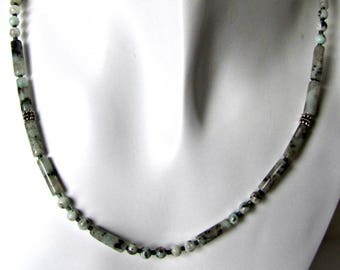 Jasper Beaded Necklace,  Gemstone Necklace, Simple Necklace,  Sterling clasp, 22 inch Necklace, Blends of Greens,  Blacks,  #1293