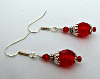 Holiday Red Dangle Earrings, Beaded Earrings, Red Drop Earrings, Bridesmaid Earrings, Casual.  Surgical Ear Wires, Ready to ship #1299