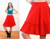 70s Red Square Dance Skirt S, Rockmount Ranch Wear Western Swing Cowgirl Ruffle Knee Length Vintage Full Skirt, Small