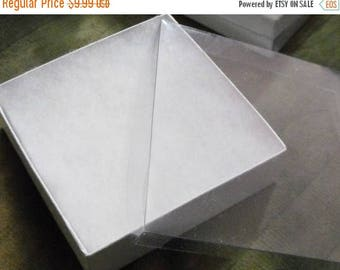 memorial day sale 20 Pack 3.5X3.5X1 inch Clear Top White Foil Swirl Cotton Filled Jewelry Retail Gift Boxes