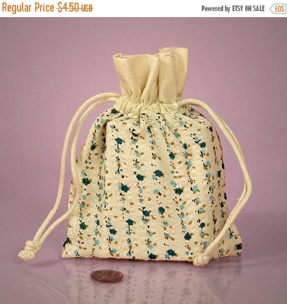 Summer Sale 6 Pack Drawstring 4.75 X 5.95 Inch Natural Muslin Bags with Country Floral Blue Color Print