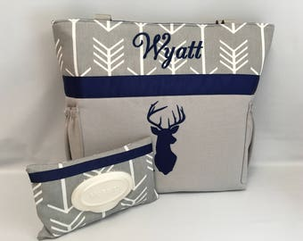 ARROW  ...   Navy DEER  Silhouette   ... Diaper Bag Set .. WIPE Cover   ... Bottle Pockets ... Personalized ...