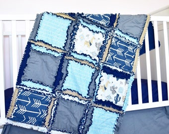 Llama Blanket- Teal / Gray / Navy Crib Bedding Cactus Nursery- Southwest Nursery- Boho Nursery- Cacti Nursery- Animal Nursery Baby Boy Quilt