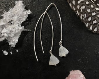 Sterling Silver Threader Drop Dangle Moonstone Triangle Earrings
