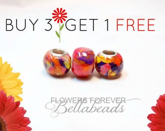 Sale,Remembrance Jewelry/Made with Funeral Flowers/SAVE up to 50.00/Pet Memorial/Handmade Bead/Memorial Beads/Large Hole Charm/ Round BOGO