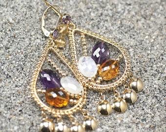 Summer SALE Maderia Citrine, Rainbow Moonstone, Amethyst dangle earrings , 14k gold filled leverbacks ... LEEORA Earrings