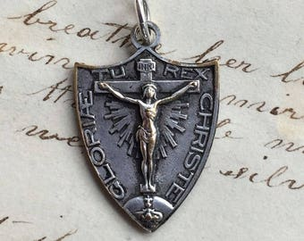 Antique Christ the King / Mary Mediatrix Crucifix Medal