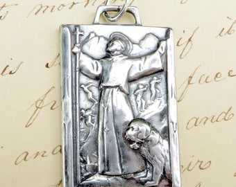 Large St Bernard Medal - Patron of mountain climbers and skiers- Antique Reproduction