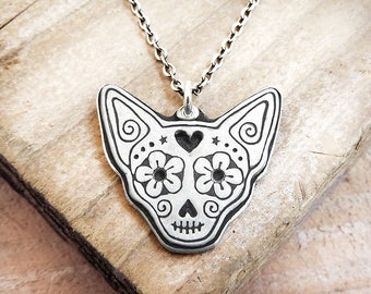 Chihuahua sterling silver Day of the Dead necklace, Día de los Muertos sugar skull jewelry, dog sugar skull, memento mori, pet memorial