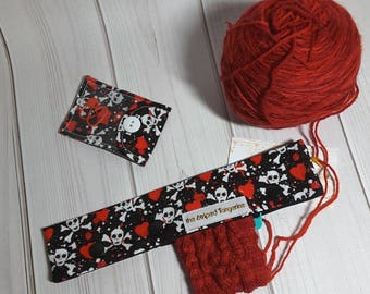 """Skulls and Hearts- Double Point Needle Case, Needle and Hook Holder, DPN Cozy 9"""""""