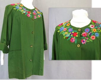 Vintage 1950's Embroidered Smock, Modern Size 12, Small