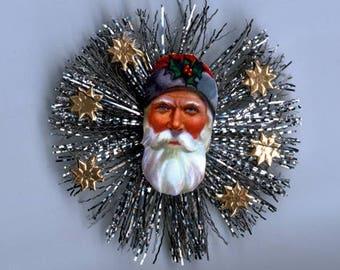 Vintage Scrap Santa & Tinsel Ornament - Genuine Components Handmade
