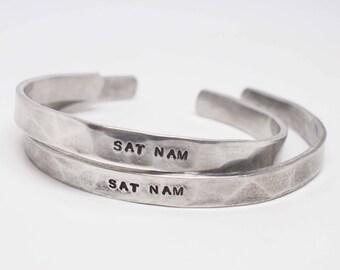 His and Hers Sat Nam Cuffs, Silver Sat Nam Bracelet, Kundalini Yoga Jewelry, Sikh Jewelry, Personalized Cuff