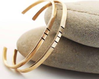 Bronze Anniversary Bracelets, Hammered Bronze Cuffs, 8th Anniversary Gift, Cuffs with Lines, Odd Number Cuffs