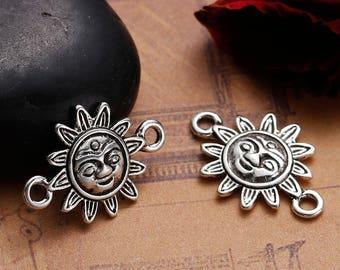 Sun Face Boho Chic Connectors Findings Antique Silver 23x16mm 4 pcs