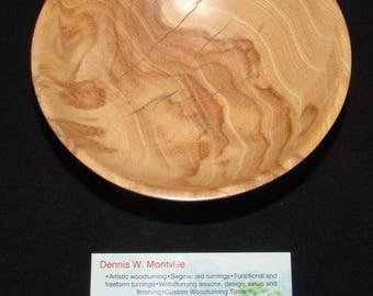 "Black Locust and Flamewood Wood Turned Bowl – ""Black Flame"" – Interesting Contrast in a Small Accent Piece"