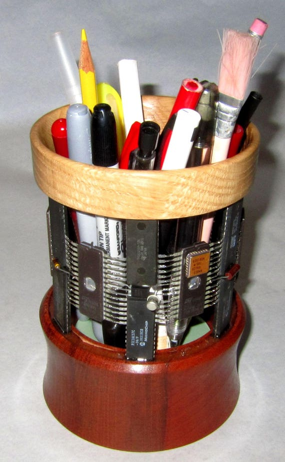 Pencil Holder – PH14 – Integrated Circuits and Electronic Components with Mahogany and White Oak – 54-17 – Steampunk, Techno