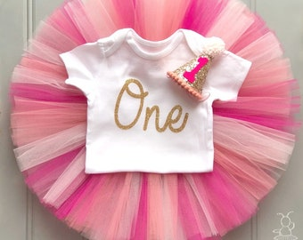 First Birthday Outfit Girl, Baby Tutu Dress, Baby Girl Tulle Skirt Set, Baby Headband Hat, Baby Hat, 1st Birthday Outfit Girl, Cake Smash