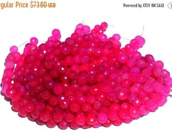 50% Off Sale Full 8 Inches - Finest Quality Hot Pink Chalcedony Micro Faceted Onion Briolettes Size 7.5 - 8mm approx