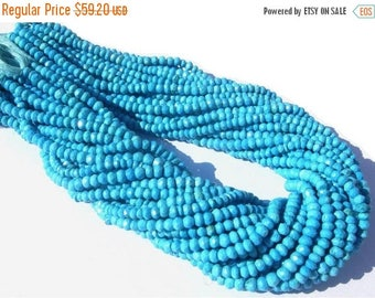 50% Off Sale 14 inches Sleeping Beauty Genuine Turquoise Micro Faceted Rondelles Size 3.5 - 4mm Very Very Gorgeous