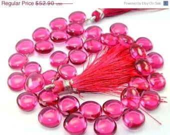 50% Off Sale On Sale Full 8 Inches - AAA Rubelite Pink Quartz Smooth Heart Briolettes Size 10x10mm approx.