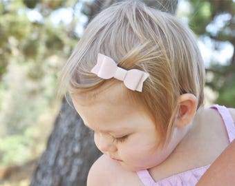 Infant Mini Latch Faux Suede Mia Hair Bow, Baby Girl, Fine Hair Clips, Newborn