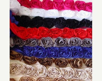 20% OFF EXP 06/30 12 PCS Le chateau Ruffle Rosette Flower  - 3 inches wide - 9 colors to choose