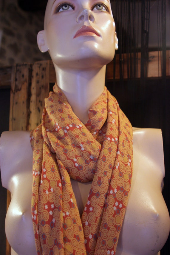 Shawl, scarf, square Tangerine Orange with bubble pattern and grey/blue flowers