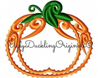 Swirl Pumpkin Applique Design Original Artwork by UDOAppliques™ Machine Embroidery Digital Download