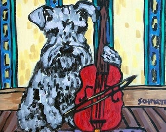 20 % off storewide Schnauzer Playing  Cello Dog Art Tile Coaster gift