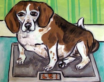 20% off storewide Beagle on a Scale Dog Art Tile Coaster