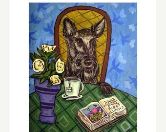 20% off storewide Scottish Terrier at the Cafe Coffee Shop Dog Art Print
