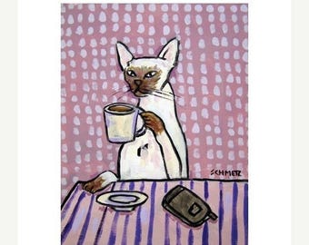 20% off storewide Siamese Cat at the Coffee Shop Art Print