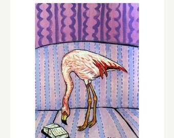 20% off Flamingo Reading Art Print