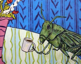Grasshopper at the Coffee Shop Insect Art Tile