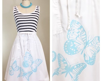80s Turquoise Butterfly White A-line Wrap Skirt, Size Small