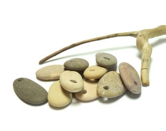 Genuine Drilled Beach Stones ALMOND JOY Pebbles Sand Focal Jewelry Beads Pendants Dangles Layers Natural Earthy Jewelry diy