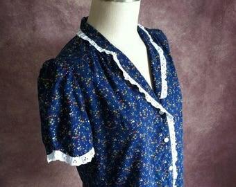Vintage Blue Floral Cotton Eyelet Blouse