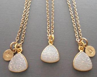 White Druzy Necklace - White Druzy Gold Initial - Initial Druzy Necklace -White Wedding Bridesmaid Gift Sparkly Triangle Drusy White-G21