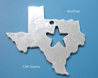 Texas State Pendant with Star Antique Silver Large Charm or Pendant double sided 49x47mm C1165 F17