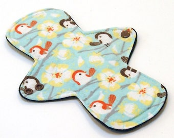 Reusable Cloth Menstrual pad -9 inch HEAVY flow -bamboo/cotton core - Windpro -  cotton flannel top in Finches