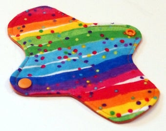 7 inch Reusable Cloth winged ULTRATHIN Pantyliner - Cotton flannel top - Rainbow Confetti